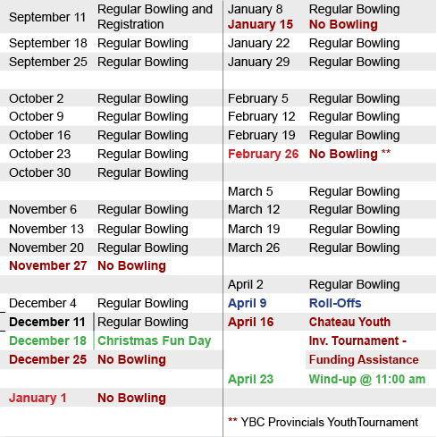 Youth Bowling Schedule