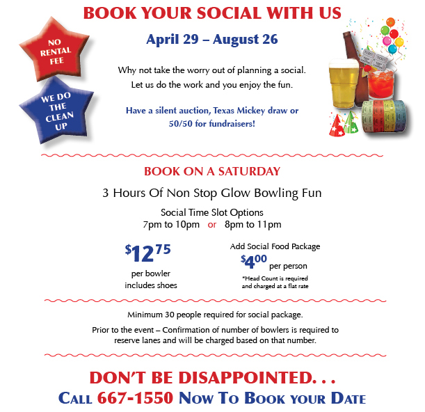 Book your social with us.